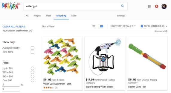 google shopping bans gun guns