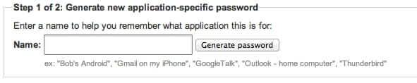 google two-factor authentication application-specific password