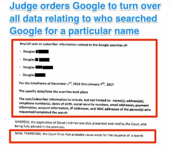 Google Ordered to Disclose Everybody who Searched for a Particular Person in Edina, Minnesota