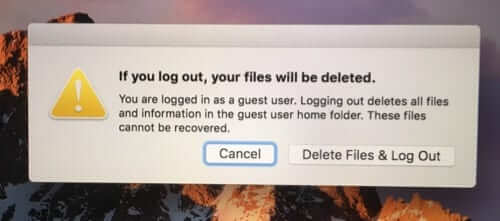 guest user account files will be deleted if log out mac macbook
