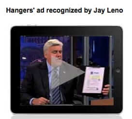 hangers cleaners on Jay Leno