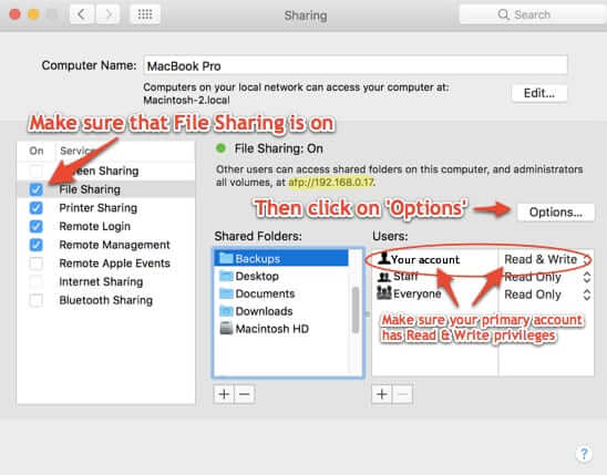 how to back up one mac to another file sharing options and ip address