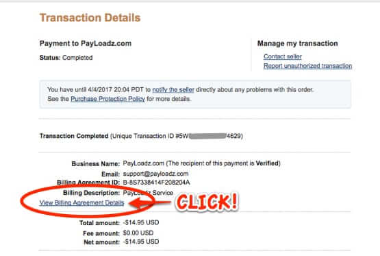how to cancel payloadz paypal subscription billing agreement details