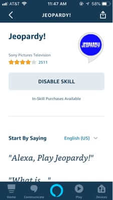 how to disable alexa skill