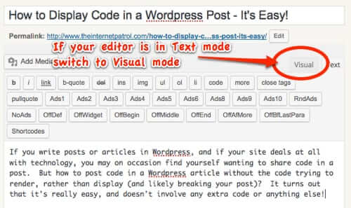 how to embed code in wordpress post editor text switch to visual