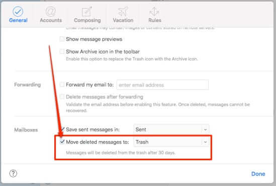 how to empty icloud trash preferences settings