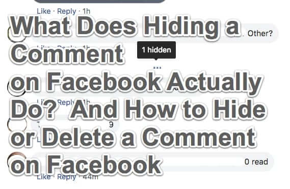 What Does Hiding a Comment on Facebook Actually Do?  And How to Hide or Delete a Comment