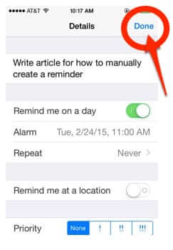 how to manually set reminder iphone done