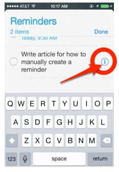 how to set reminder iphone manually