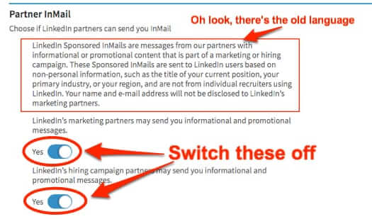 how to turn off promotional messages linkedin linked in