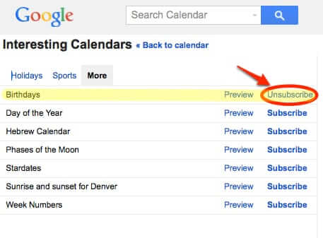 how to unsubscribe delete google birthdays birthday calendar