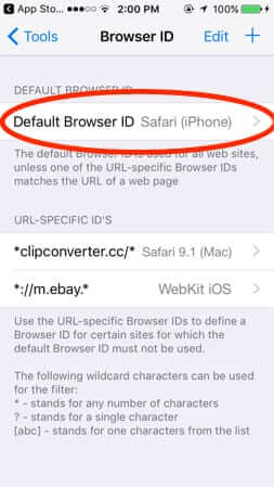 icab user agent browser id setting