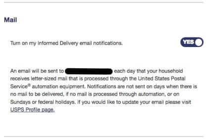 informed delivery email notifications