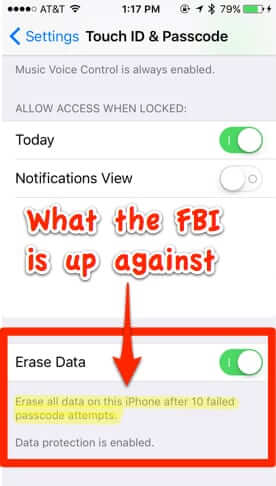 iphone erase all data after 10 failed passcode attempts apple fbi