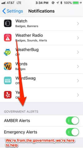 iphone government alerts amber emergency