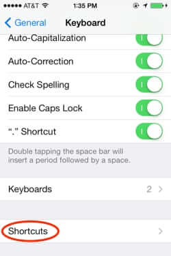 iphone keyboard shortcuts