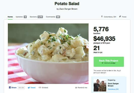 kickstarter potato salad