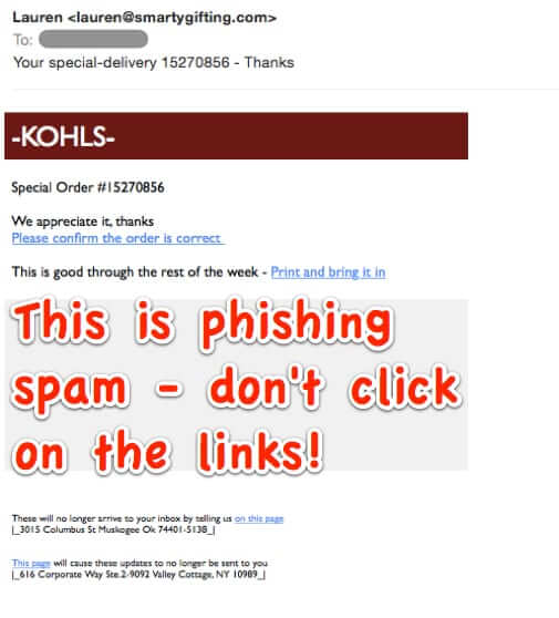 Email from Kohl's is Actually Spam Phishing Expedition