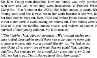 north korean children fed snakes and rats
