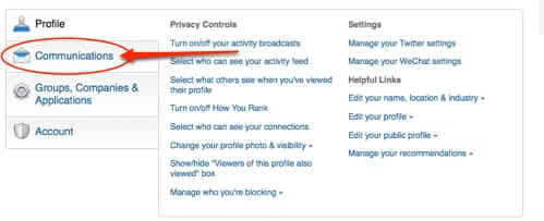 linked in profile settings