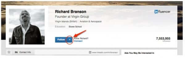 linkedin arrow wall richard branson