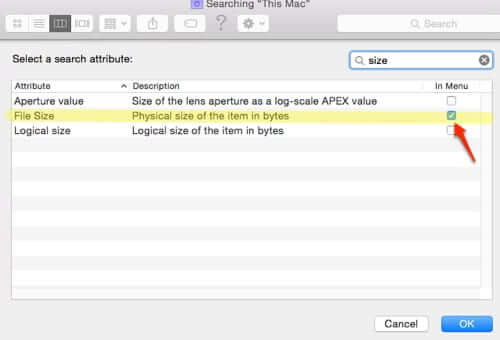 mac finder files by file size