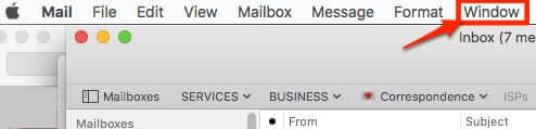 mac mail email menu window