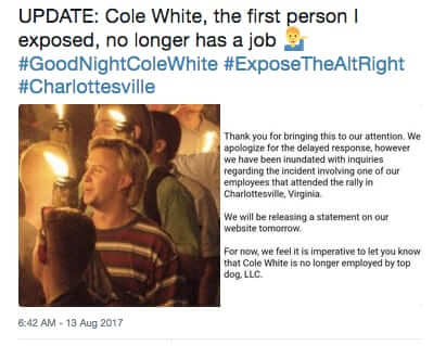 man fired for being part of charlottesville mob
