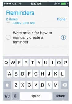 manually add reminder iphone write on blank line