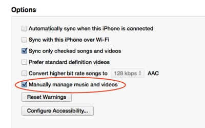 manually manage music itunes iphone