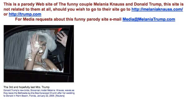 melania trump parody website 2005