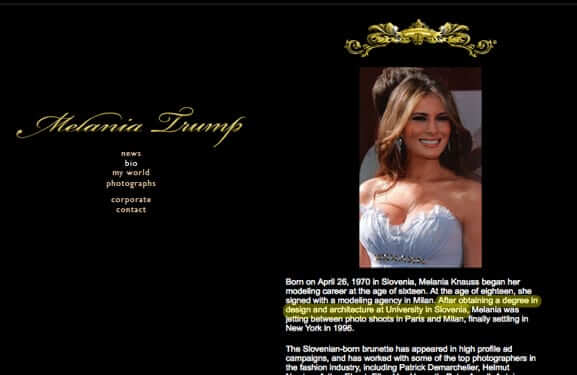 melania trump website 2006