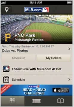 mlb at the ballpark ibeacon app