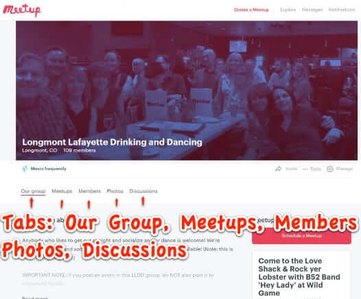 new meetup site design tabs