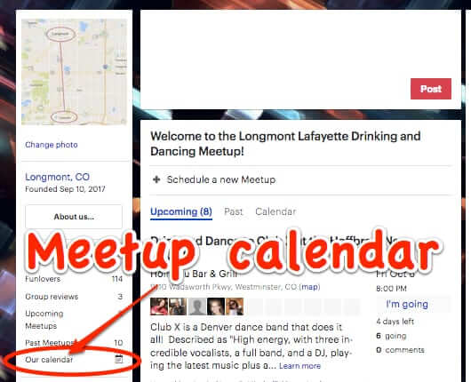 old meetup site design calendar past meetups nav bar