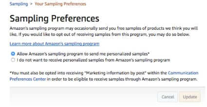 opt in to amazon free samples