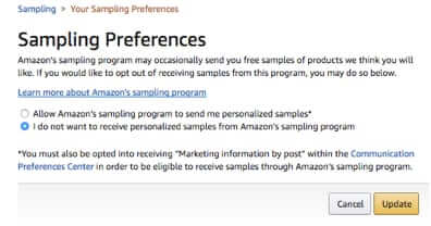 opt out of amazon free samples