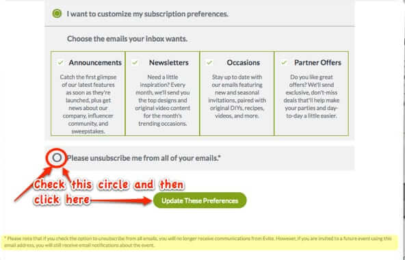opt out of evite mailings email emails