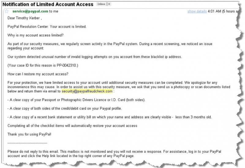 New Paypal Scam Asks for Passport, Drivers License and