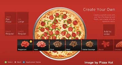 pizza hut xbox 360 app