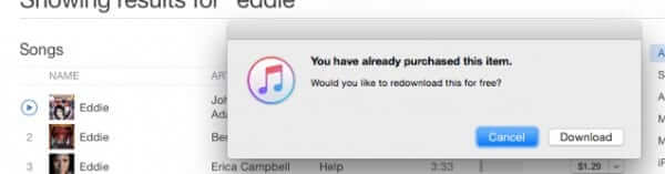 redownload deleted purchased itunes song