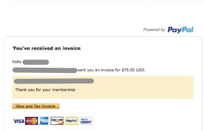 regular paypal invoice