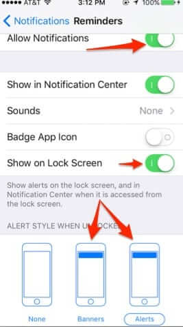 reminder notification settings iphone