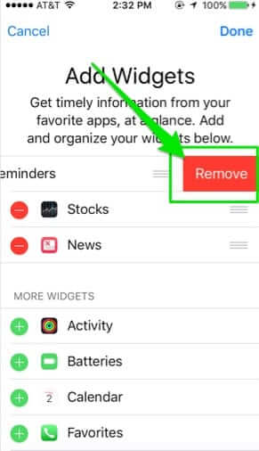 remove reminders from home screen