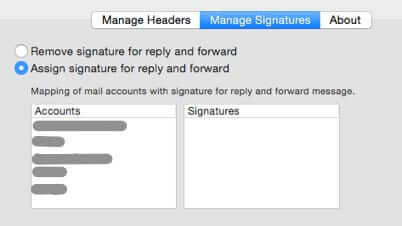 reply with headers signature management