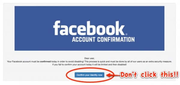 scam facebook text message confirm your identity now