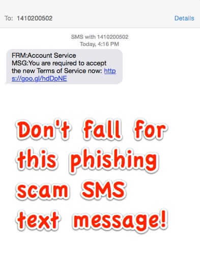 "Warning: Do NOT Click on Text Message ""FRM: Account Service""!"