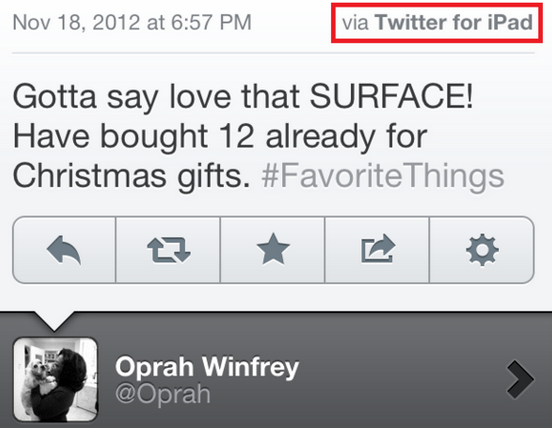 Oprah Winfrey Tweets That She Loves the Microsoft Surface …From Her iPad