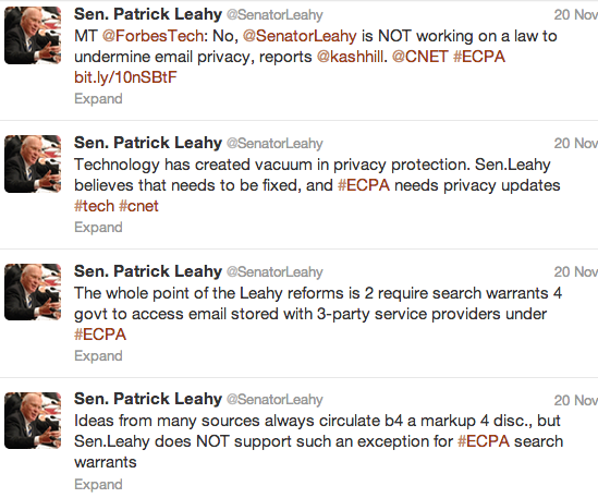 Senator Patrick Leahy and the ECPA Privacy Amendment That Proposed Only a Subpeona, With a Warrant Not Required, to Search Private Email