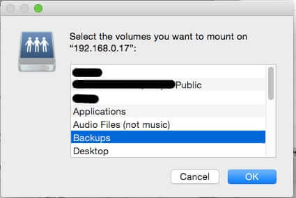 select volume to back up one macbook to second macbook